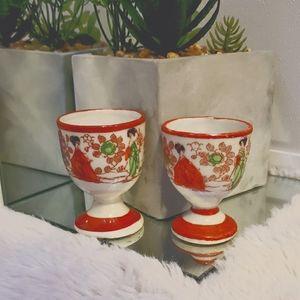 Vintage Egg Cups Geisha Porcelain Japan Set 2 RARE